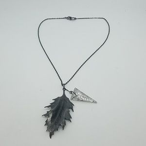 Fire from heaven gunmetal leaf necklace Swarovski